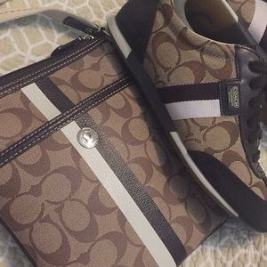 Coach matching set of shoes with crossbody 🖤